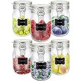 Creative Home 6 x Tarros de Cristal con Tapa Herméticos | 6 x 1L | Set Botes...