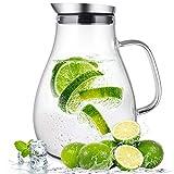 SUSTEAS Jarra de Vidrio de 2,0 litros con Tapa Jarra de té Helado Jarra de Agua...