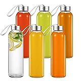 Aicook Botella de Agua de Cristal de 500ml, Paquete de 6, Botella de Vidrio para...