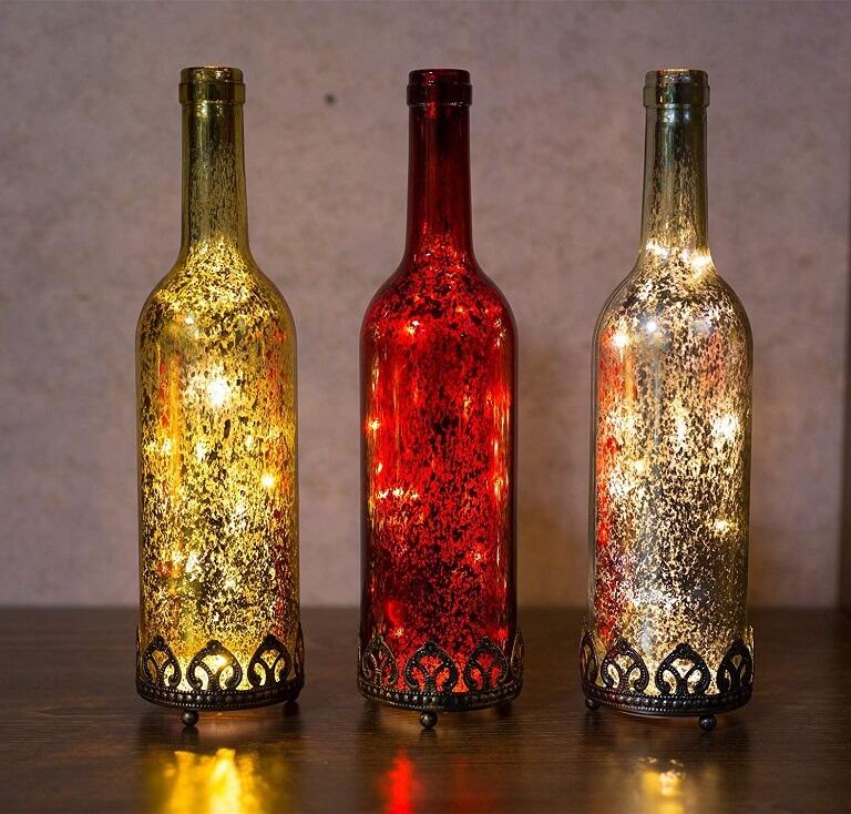Botellas Decoradas a modo de Lámpara